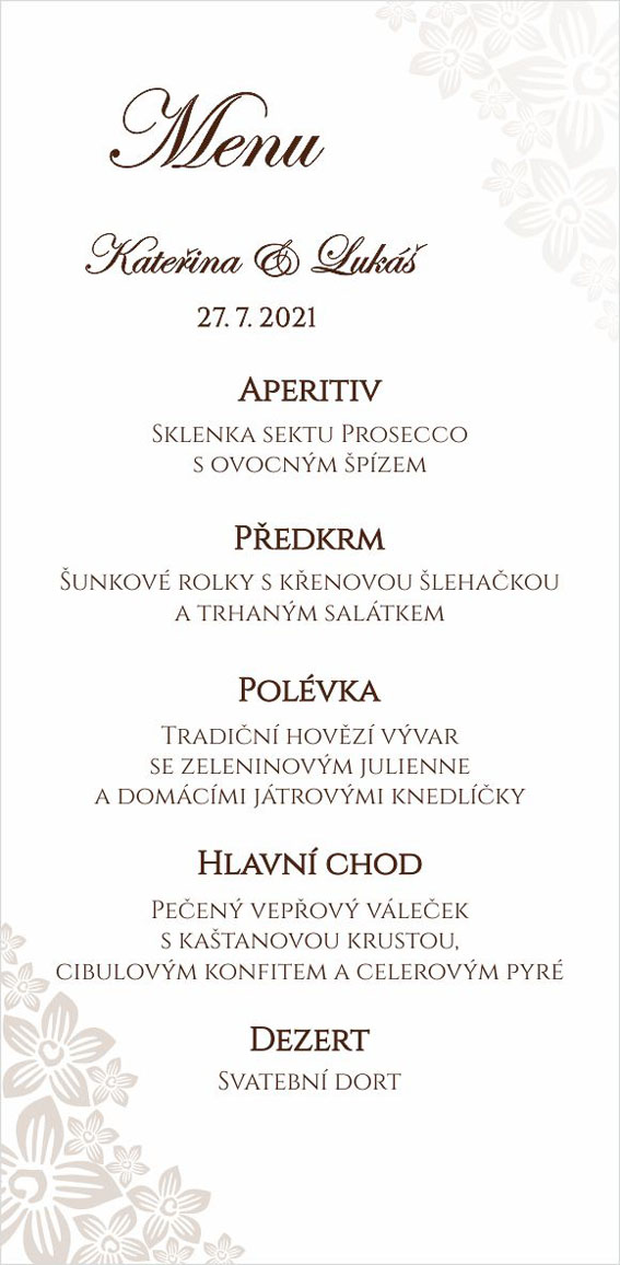 Wedding menu with pearly floral ornament