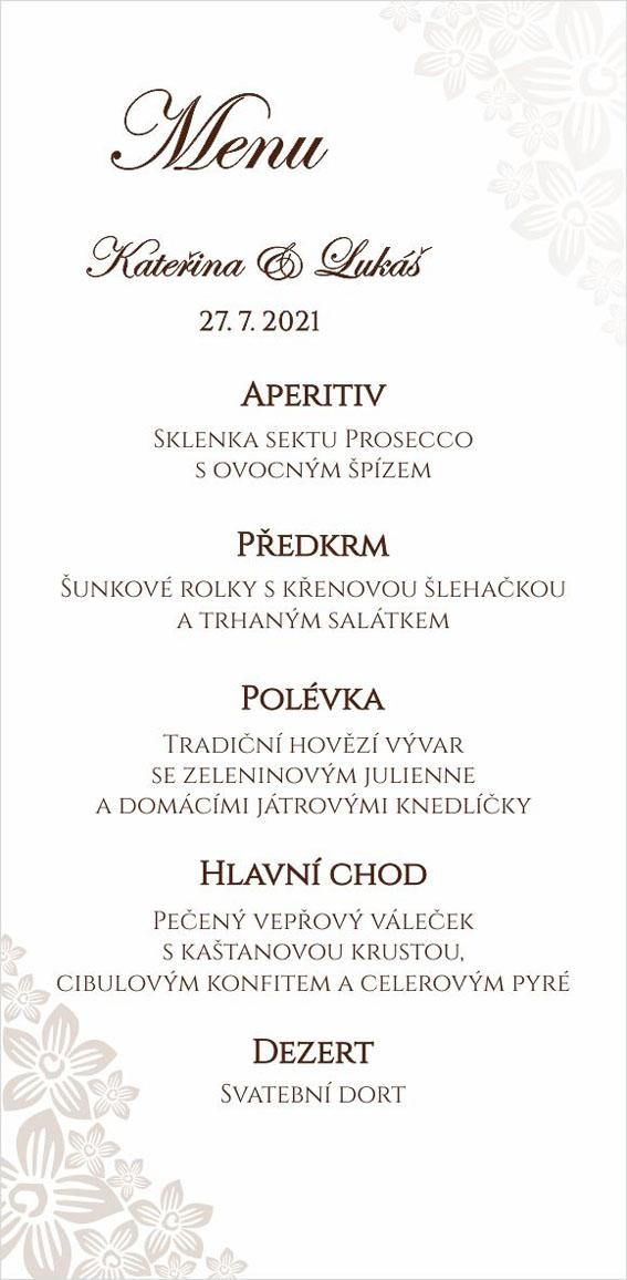 Svatební menu s perleťovým květinovým ornamentem