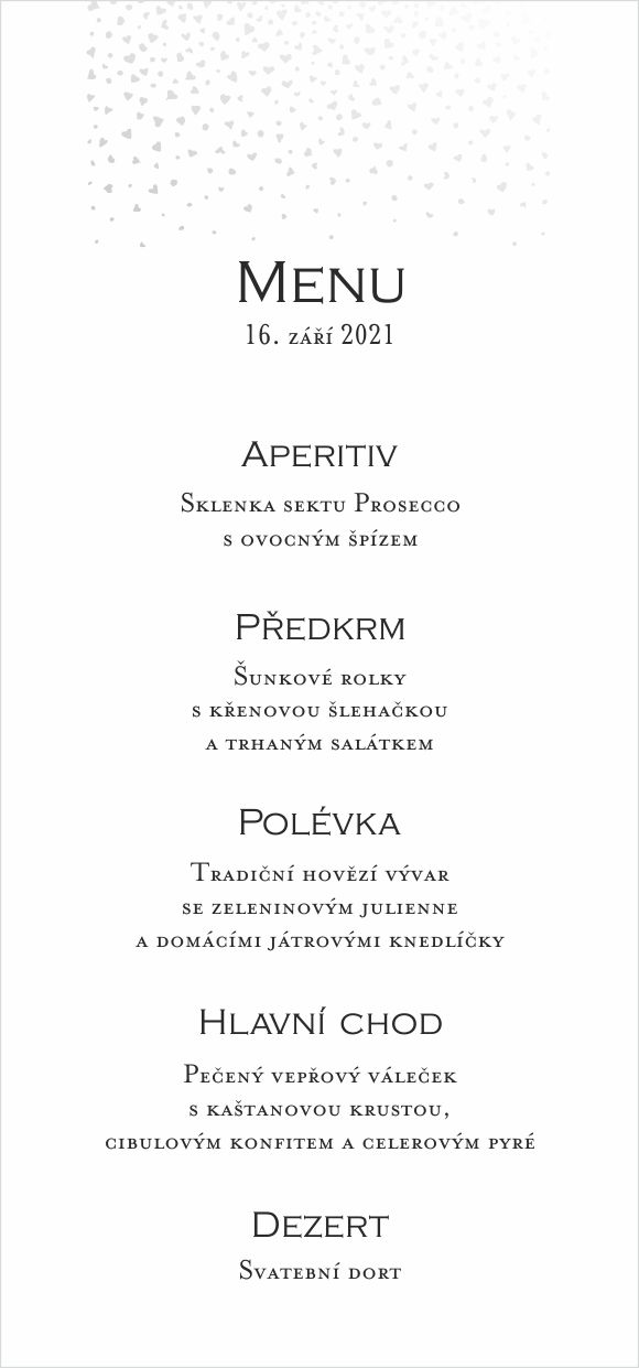 Svatební menu se stříbrno duhovou ražbou srdíček