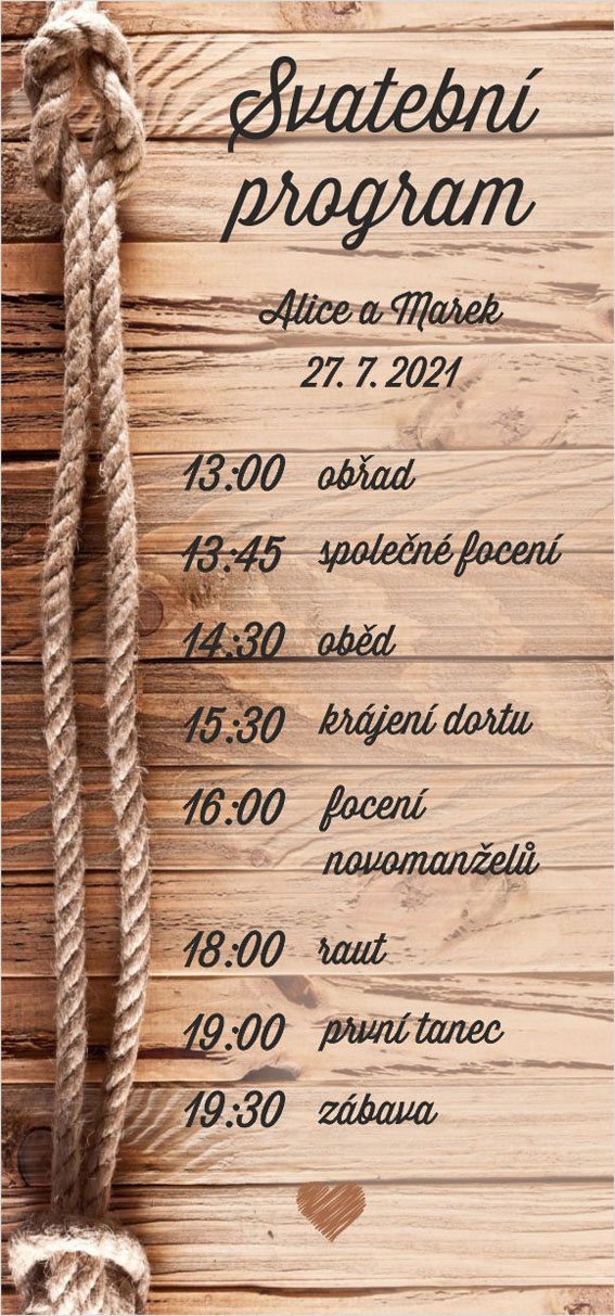 Wedding program ropes and wood