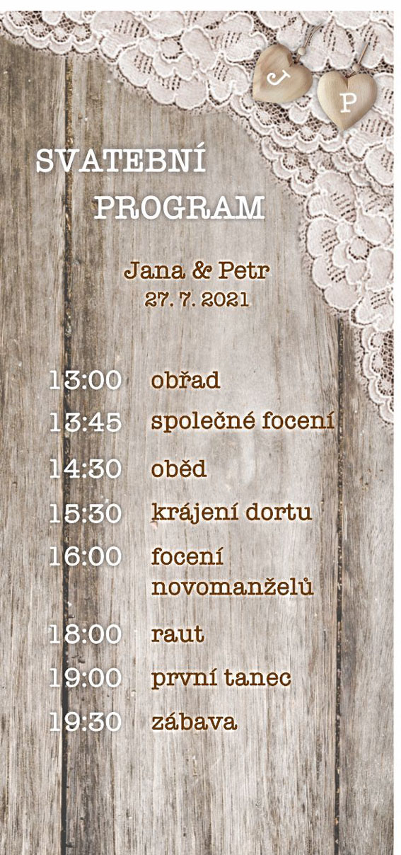 Wedding schedule with lace
