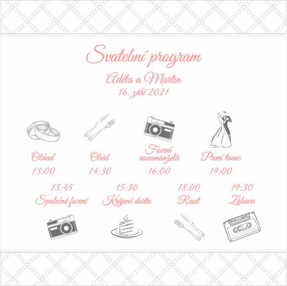 Square wedding timeline with embossed ornaments