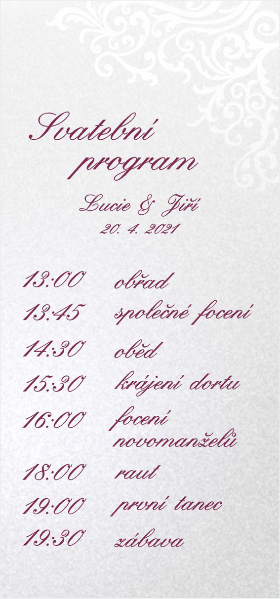 Wedding timeline with glossy ornament