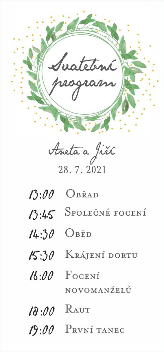 Wedding timeline green leaves and dots