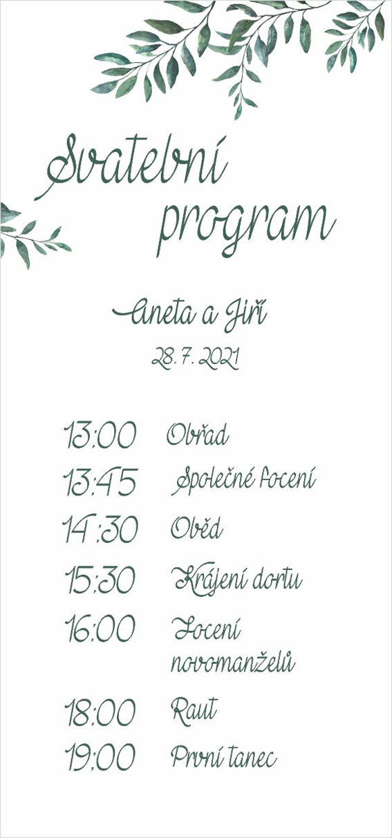 Wedding timeline with branch