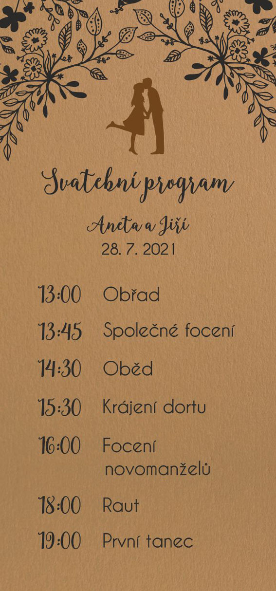 Wedding timeline with silhouette of couple