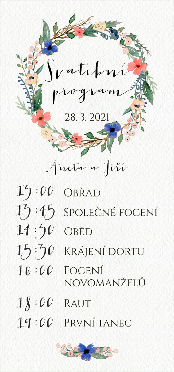 Wedding timeline wreath of flowers