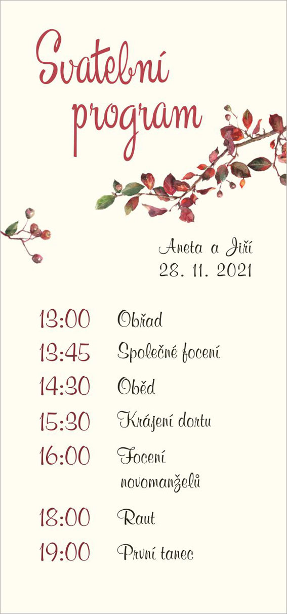 Autumn wedding timeline with tree branch