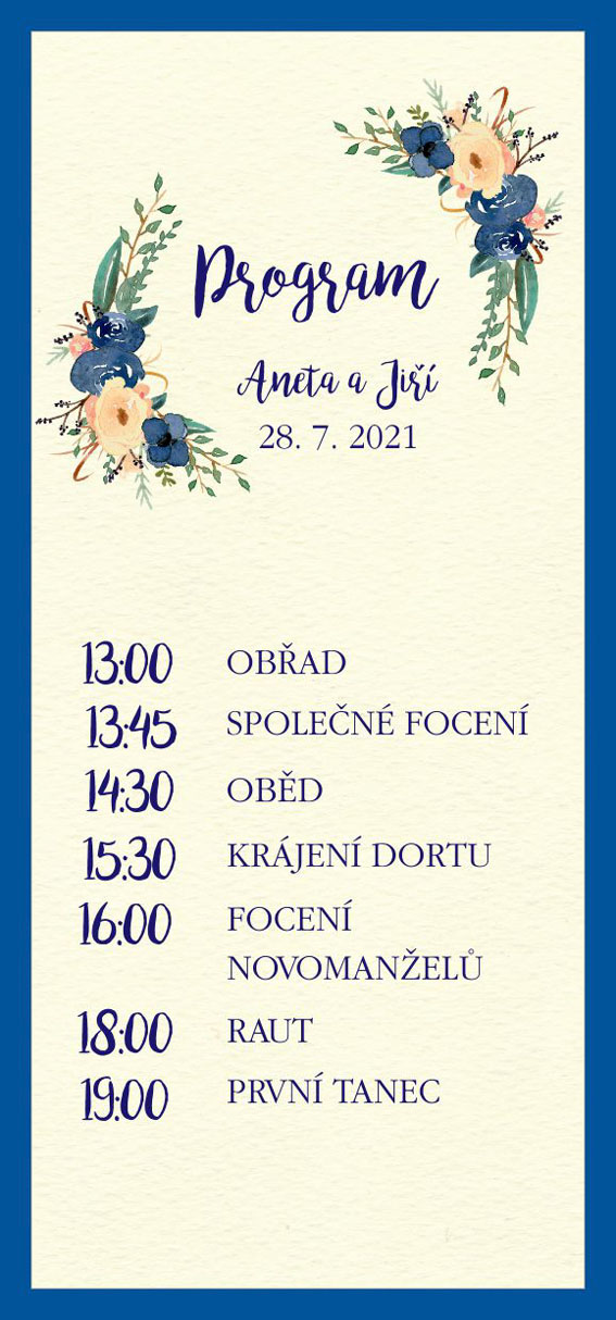 Wedding timeline with blue flowers