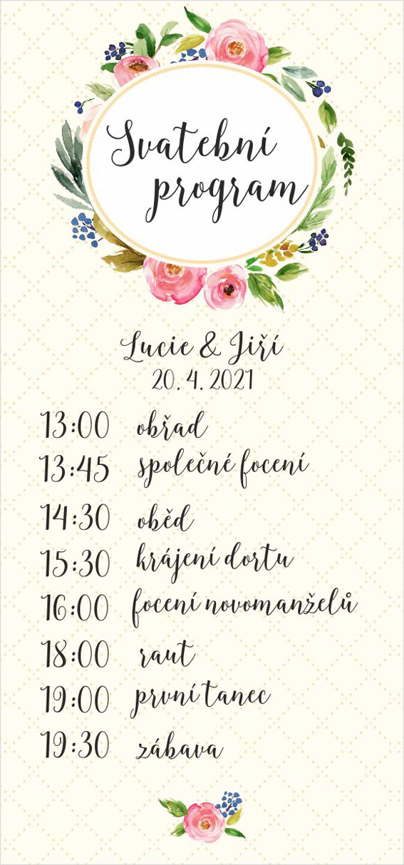 Wedding program with floral circle