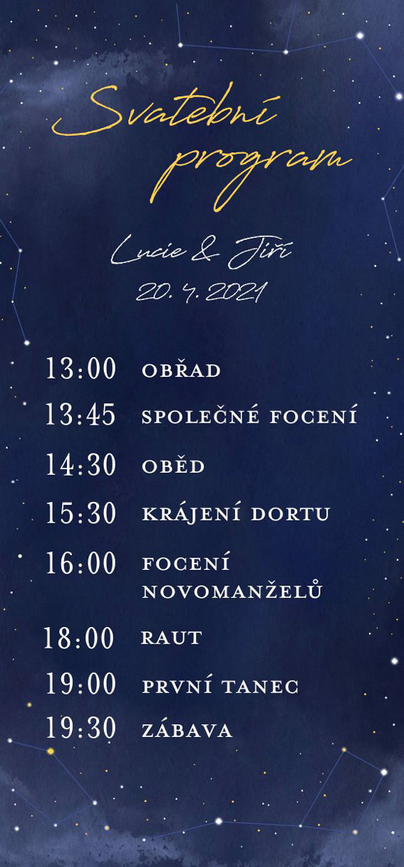 Wedding timeline starry sky