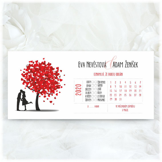 Calendar wedding invitation tree with couple