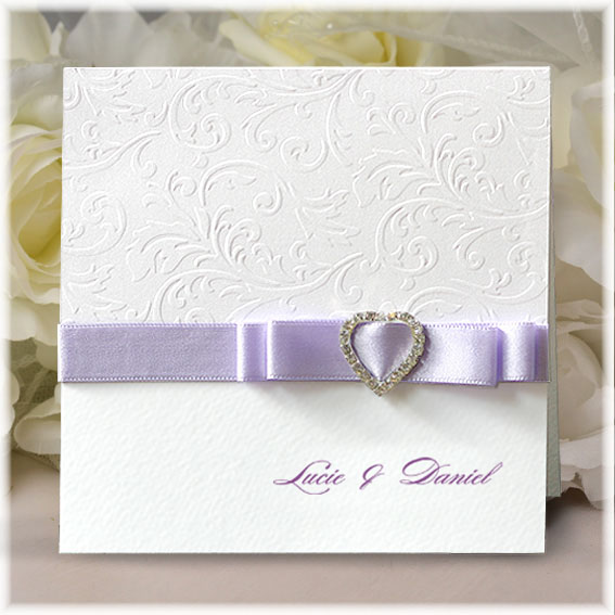 Wedding Invitations with heart buckle and purple ribbon bow
