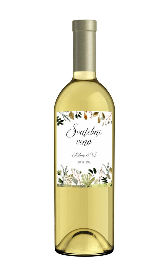 Etiketa na fľašu svadobného vína