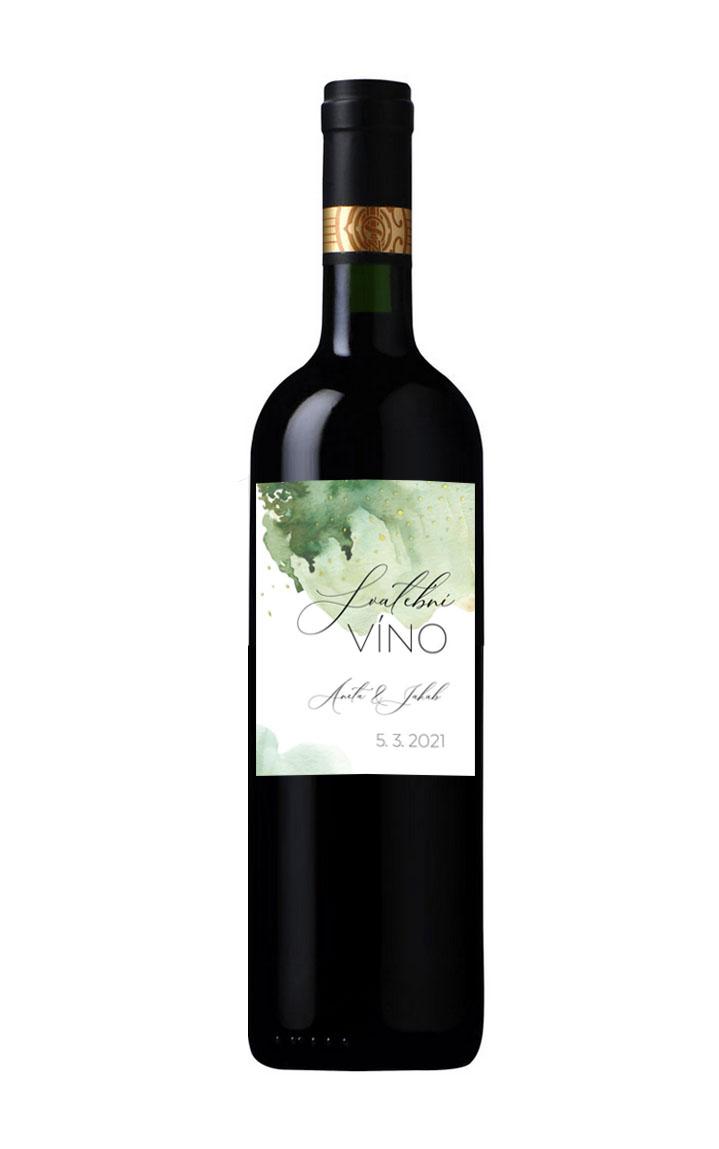 Zelená etiketa na svatební víno