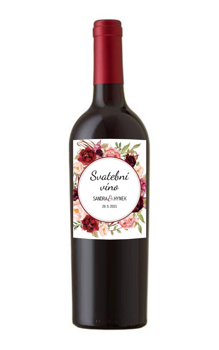 Kvetinová etiketa na svadobné víno