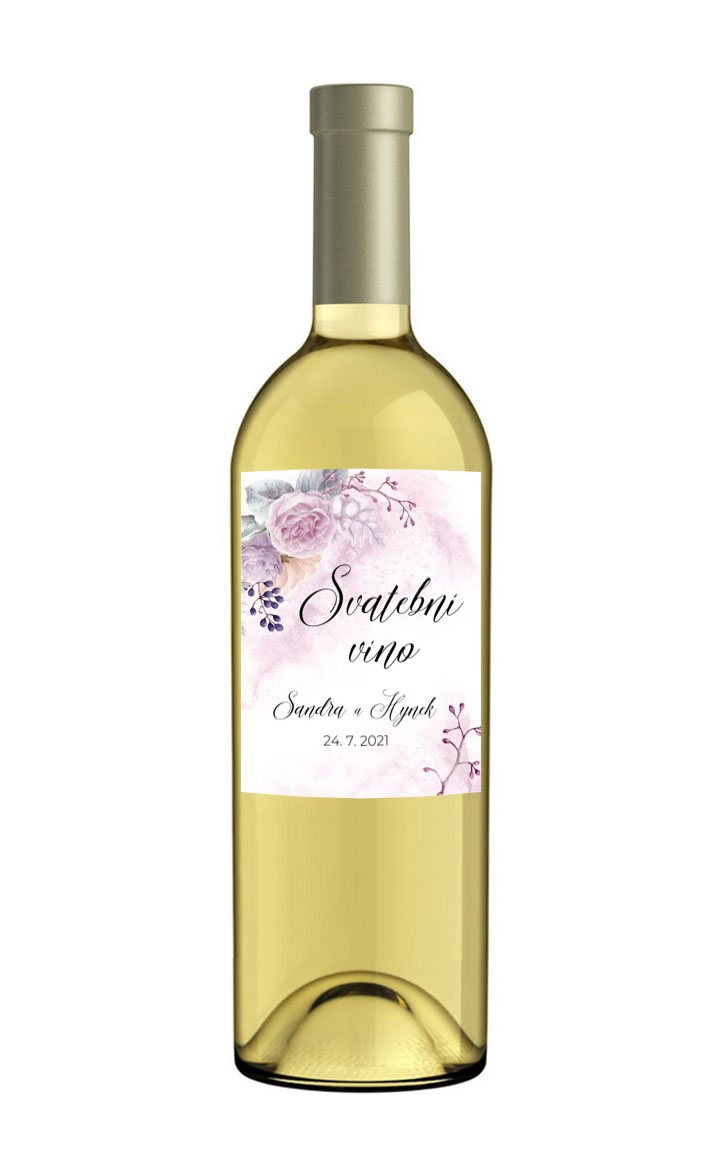 Wine label with flowers