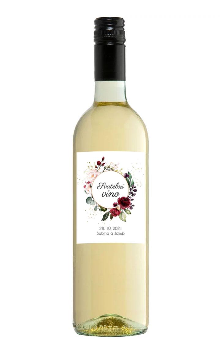 Etiketa na svadobné víno s kvetinami a kruhom