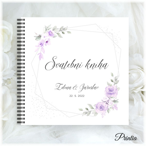 Svatební kniha s fialovými květinami