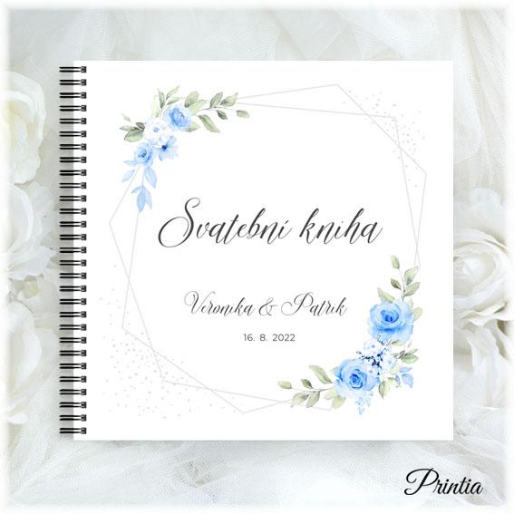 Svadobné kniha s modrými kvetmi