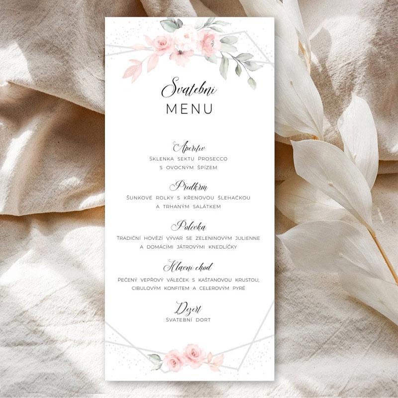 Květinové svatební menu