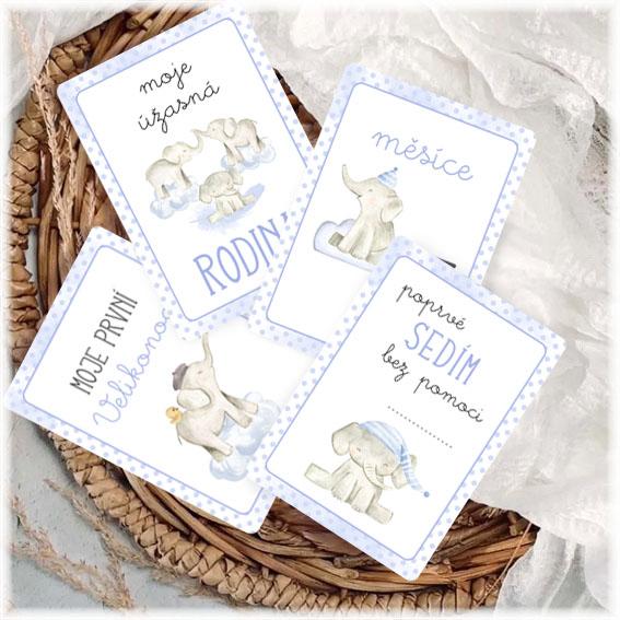 Milníkové kartičky se slony pro kluka