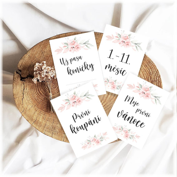Milníkové kartičky pro miminko s květinami