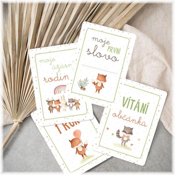 Milníkové kartičky s ilustracemi zvířátek
