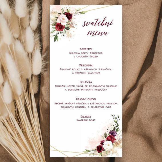 Svatební menu přírodní geometrické květinové