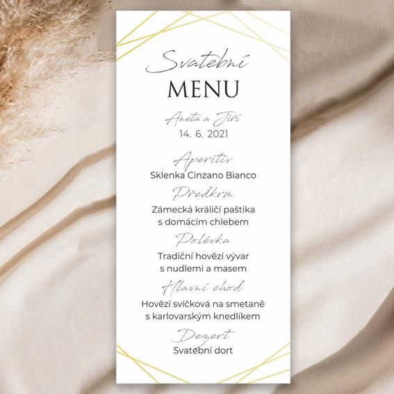 Svatební menu geometrické s lesklými liniemi