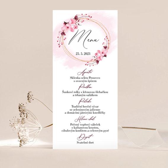 Svatební menu s květy