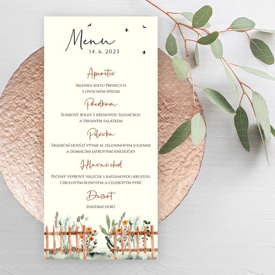 Svatební menu s květinami za plotem