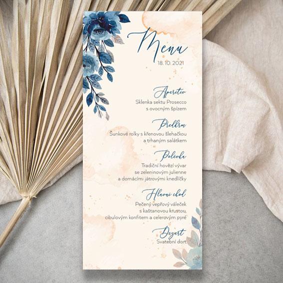 Modré svatební menu