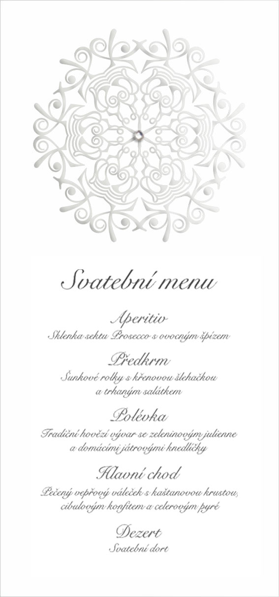 Wedding menu with embossed ornament and with stone