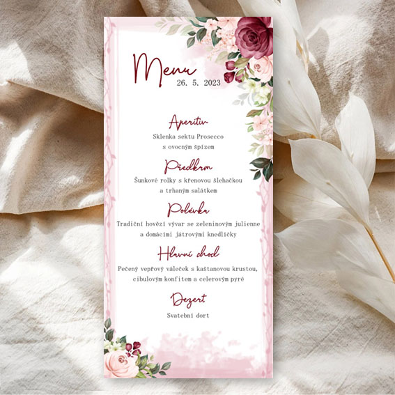 Bordó svatební menu