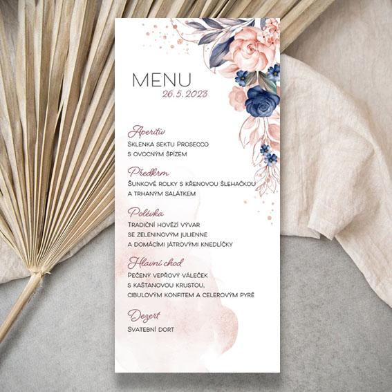 Akvarelové svatební menu