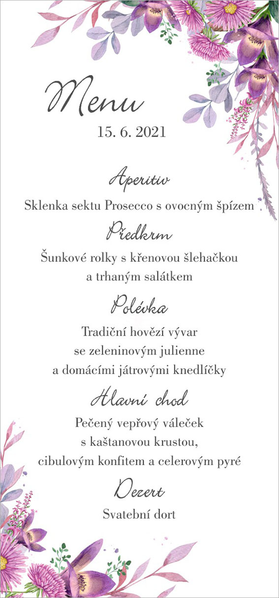 Wedding menu with flowers