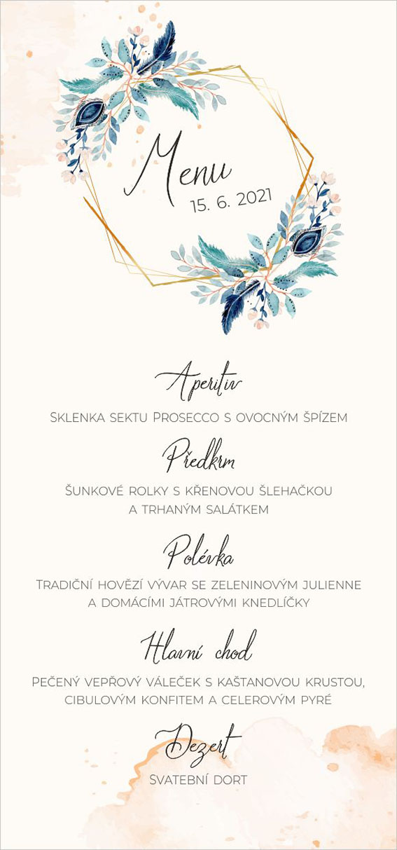 Wedding menu with turquoise flowers