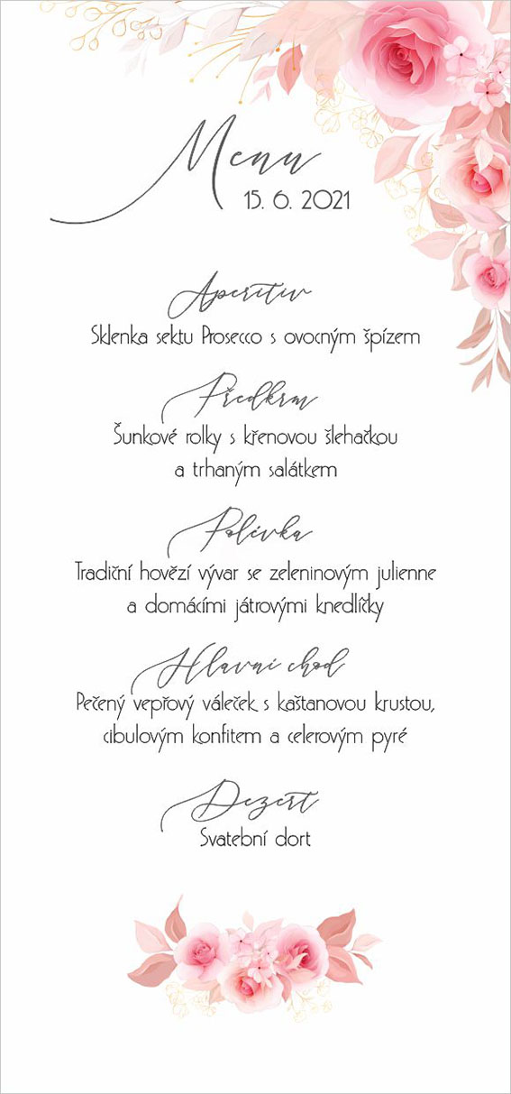 Wedding menu with roses