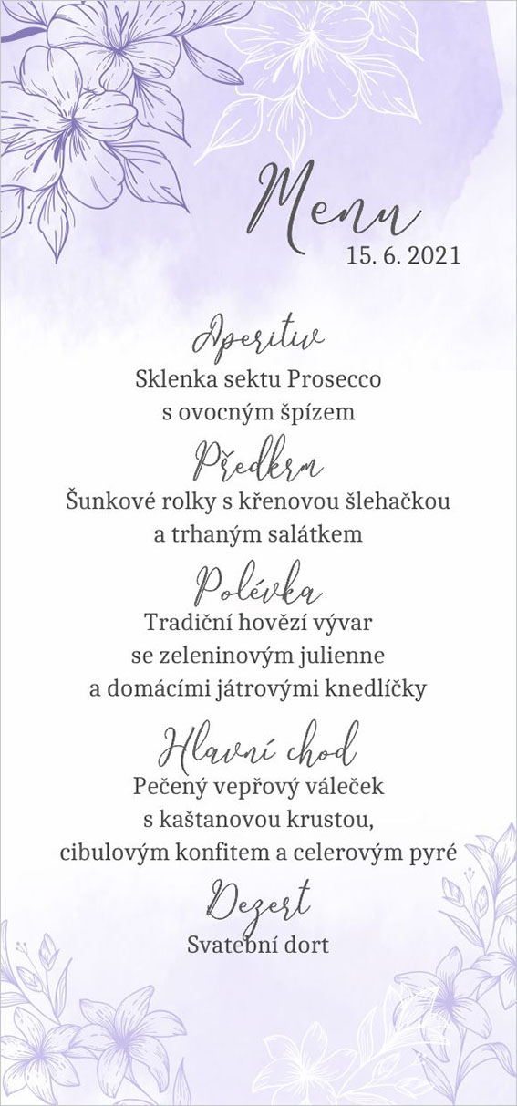 Lilac wedding menu