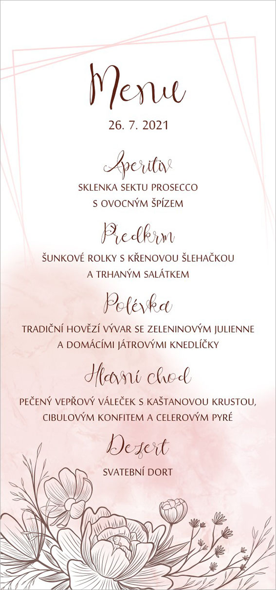 Apricot wedding menu