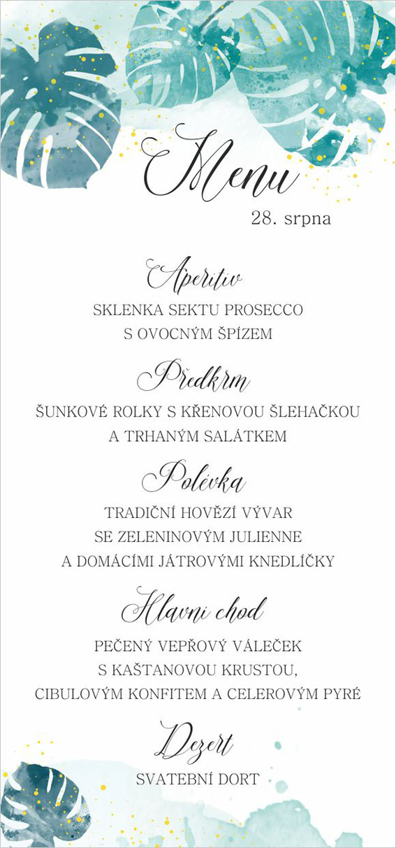 Wedding menu with leaves