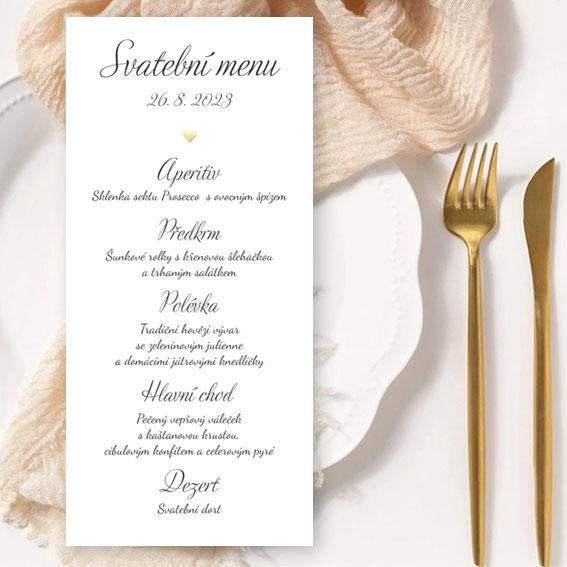 Svatební menu se zlatým srdcem