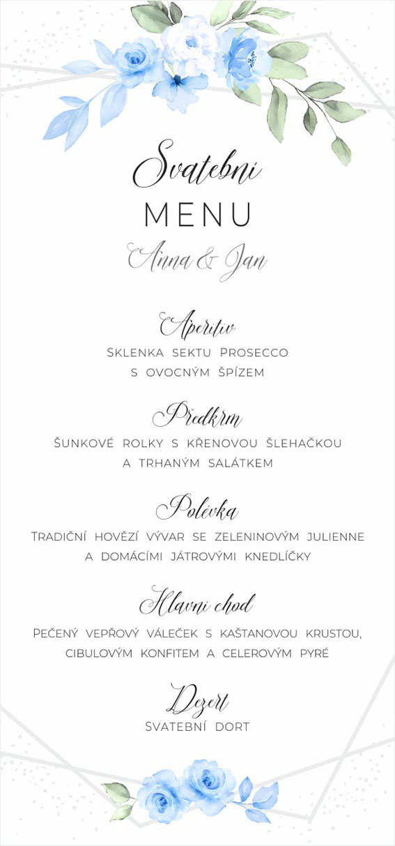 Blue wedding menu