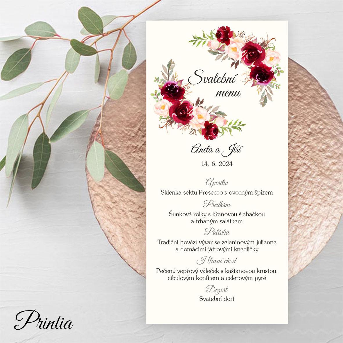 Svatební menu s bordó květy