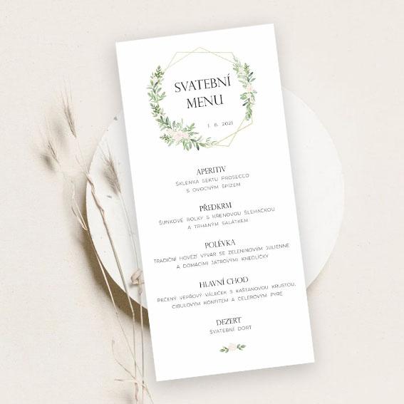 Svadobné menu s geometrickým vzorom