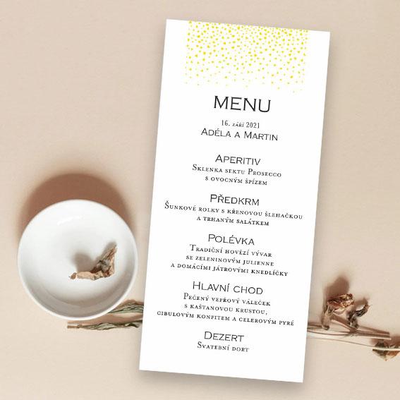 Svatební menu zlatá srdíčka