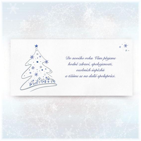 Novoroční přání se stříbrně raženým stromkem