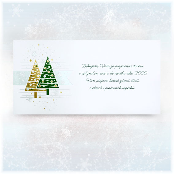 Novoroční přání s lesklými vánočními stromečky