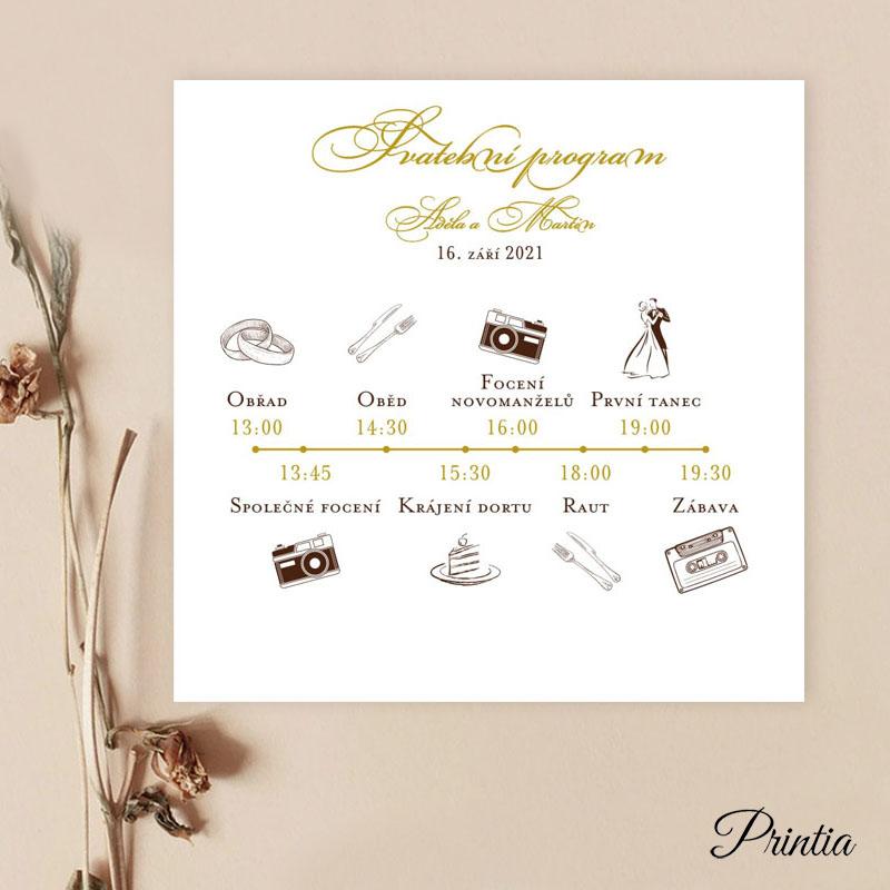 Čtvercový svatební program s ikonkami